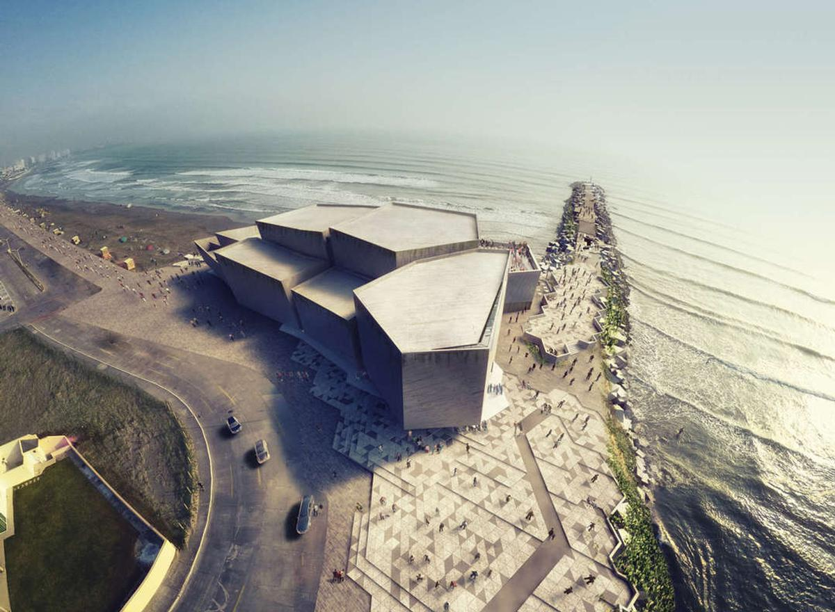 Boca del Rio concert hall is comprised of jagged volumes