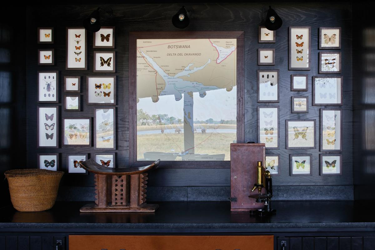 A collection of maps and insects can be found in the lodge's restaurant / Belmond Eagle Island Lodge Botswana