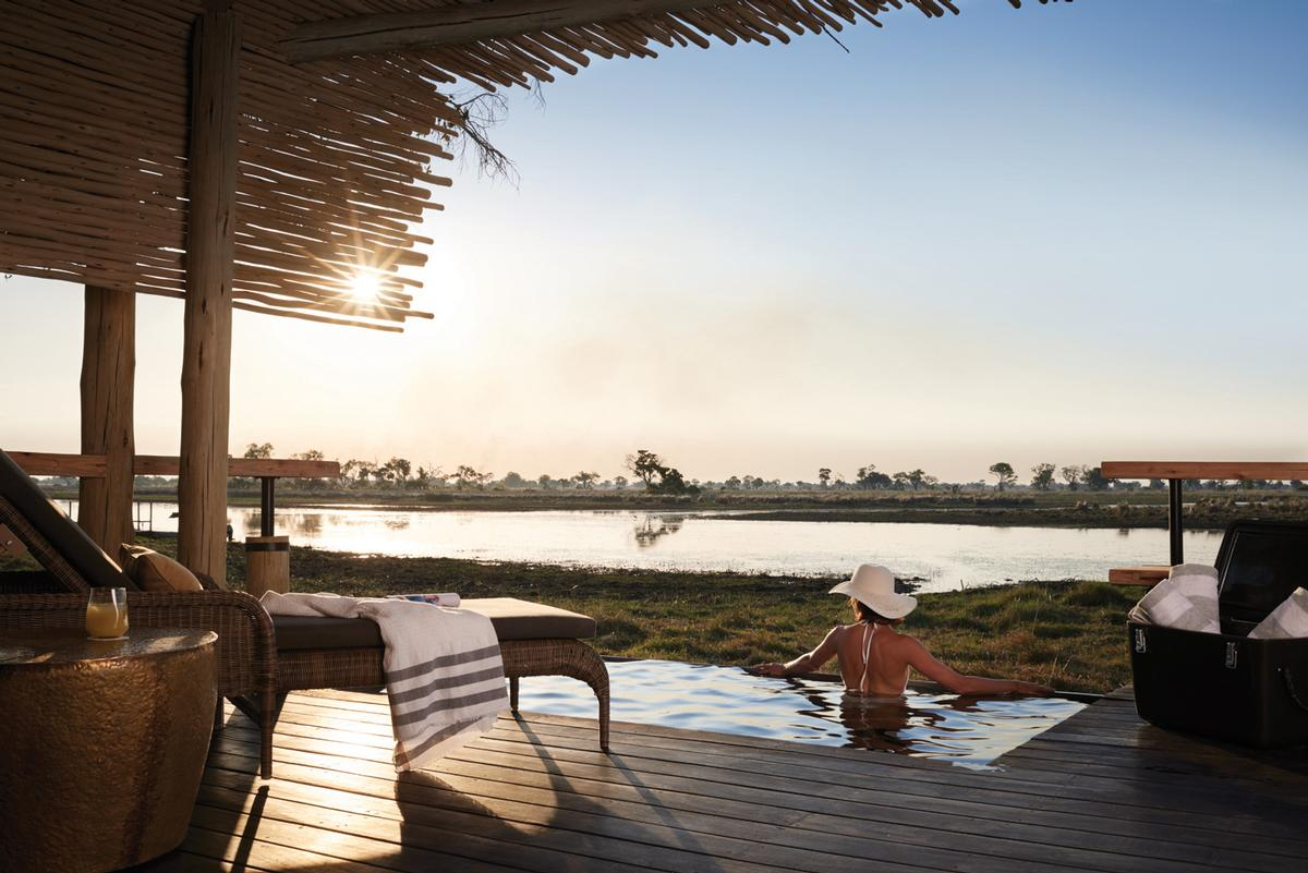 Each room has a plunge pool looking out towards the delta, with local wildlife, including elephants, often wandering past / Belmond Eagle Island Lodge Botswana