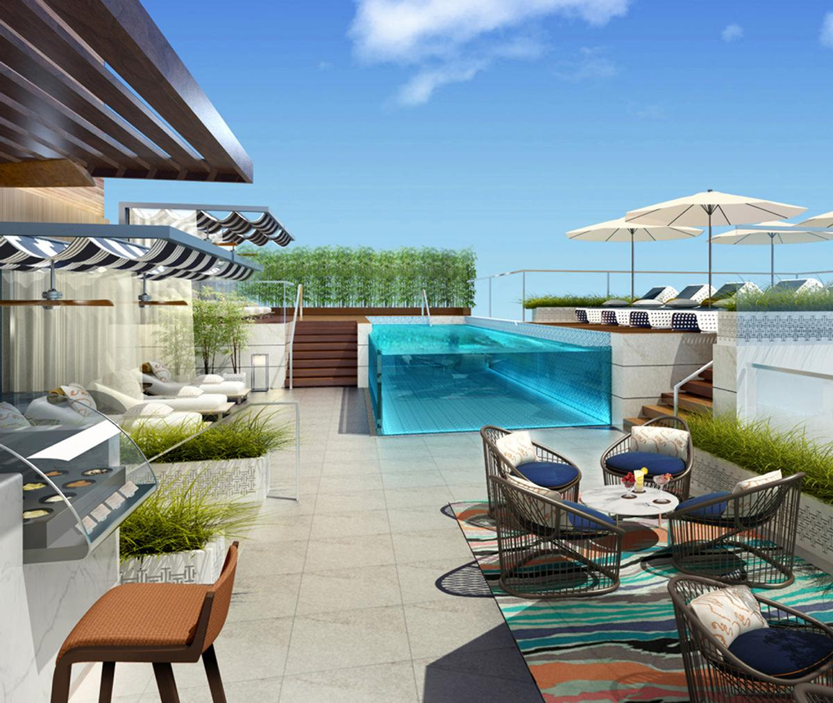 A multi level outdoor leisure deck includes a whirlpool for 180 degrees salon dubai