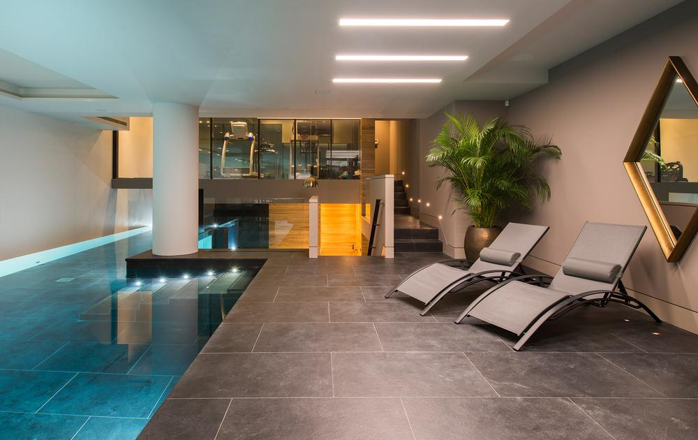 Designed for training, the 20m pool is one of the largest in a private residence in London