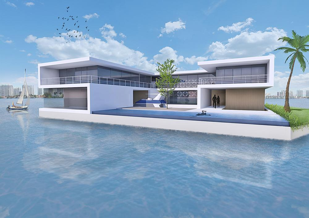 The rendering shows an Amillarah Private Island off the Miami coast