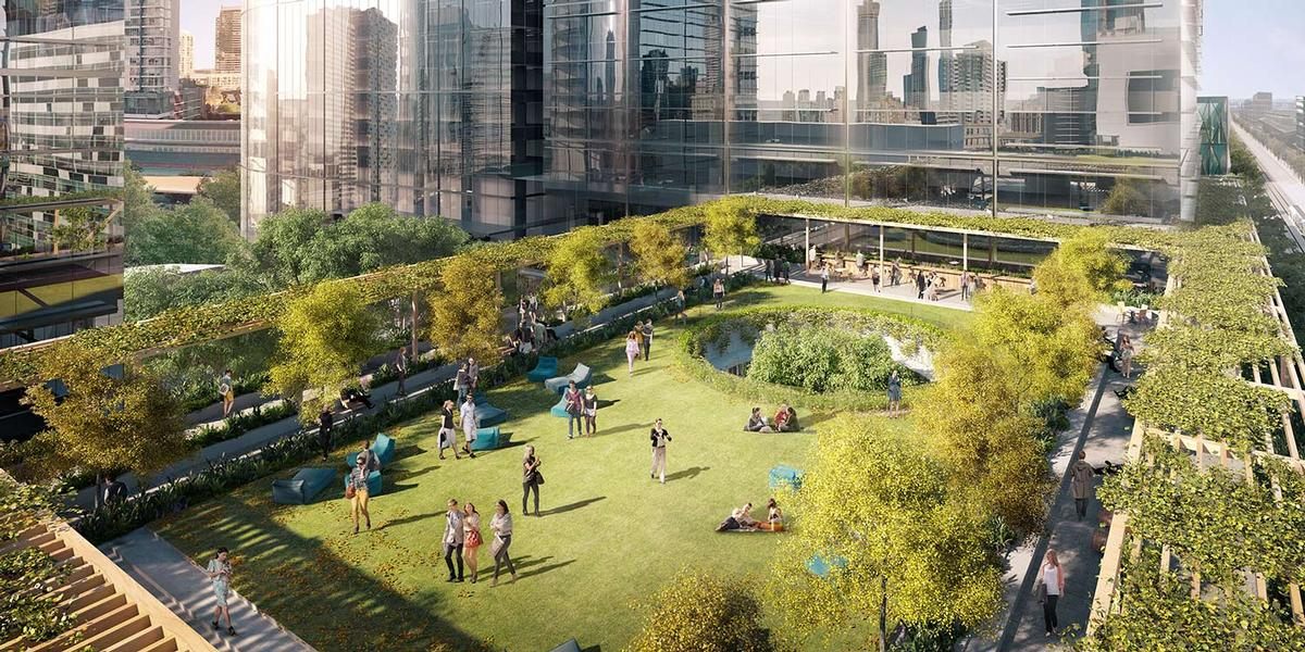 The 2,000sq m Melbourne Sky Park has been designed by Australian architects Aspect/Oculus / Lendlease