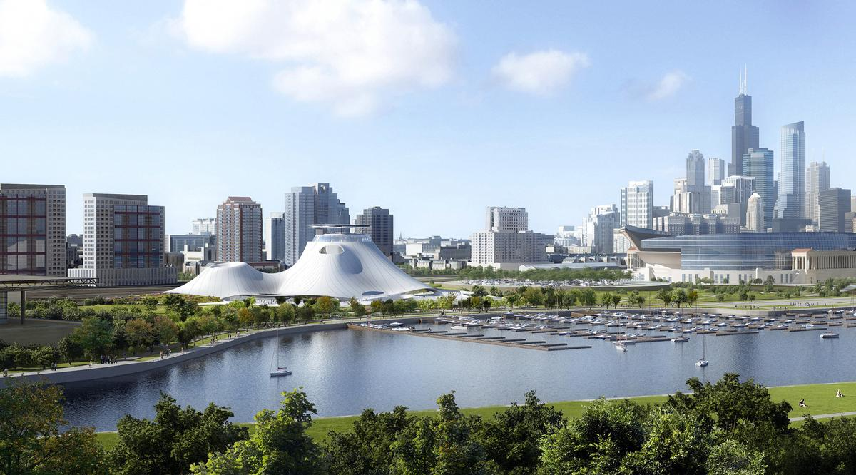 Images show a significantly smaller, but similarly-designed version of the lakefront building