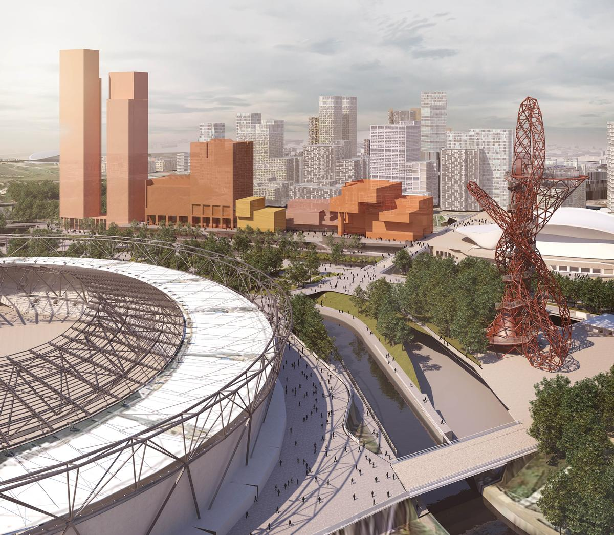 Olympicolpolis is situated next to Zaha Hadid's London Aquatics Centre and close to Anish Kapoor's ArcelorMittal Orbit / Queen Elizabeth Olympic Park