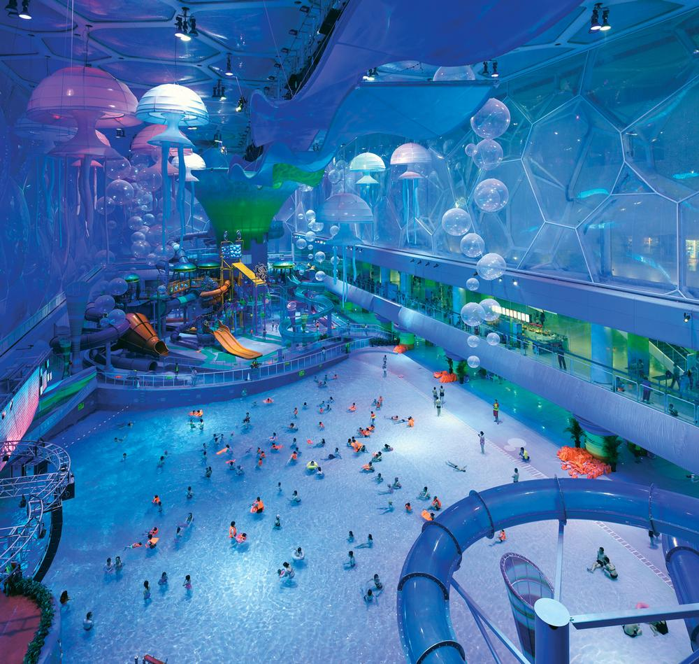 The Watercube's unusual cellular  structure suggested an underwater  environment that allowed colourful,  abstract, floating elements