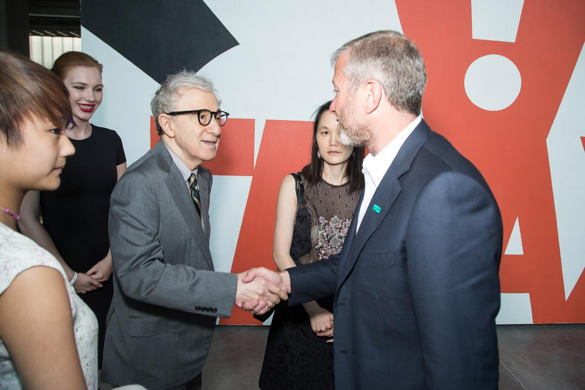 Woody Allen was among the celebrity guests at opening night, pictured here with Roman Abramovich / Garage Museum of Contemporary Art