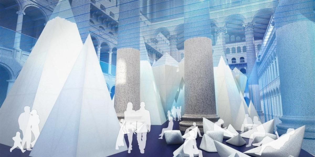Visitors will be able to ascend a viewing area inside the tallest iceberg – which rises 56ft and reaches the museum's third-storey balcony / James Corner Field Operations/National Building Museum