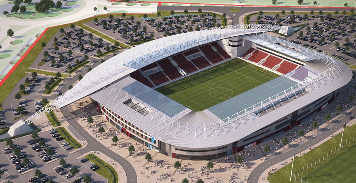 The stadium will form part of a larger development project which will include 6,000 houses and man-made lakes and beaches