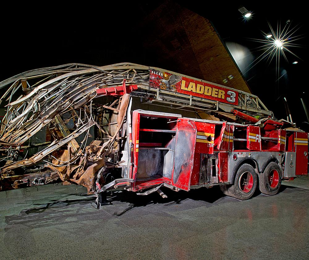 A destroyed fire truck from Ladder Company 3 that helped people escape / PHOTO: ©JIN LEE