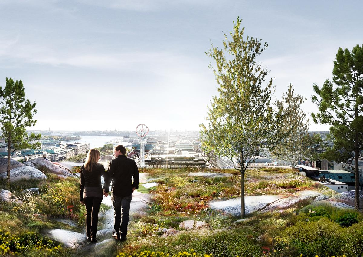 A large green park will be located on the building's rooftop / Schmidt Hammer Lassen Architects