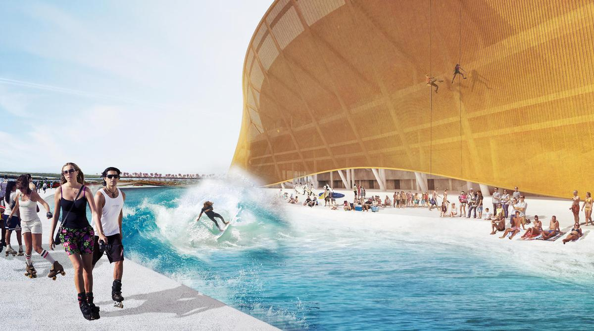 A newly-released rendering shows bathers relaxing on a strip of man-made beach, rollerskaters circling the concourse, abseilers descending the stadium and a surfer catching a large wave in the moat / BIG and Michael Fairmont