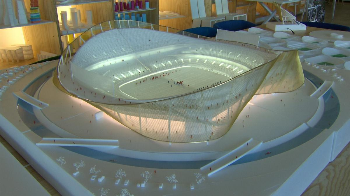 The stadium will be a semi-transparent wave-like structure surrounded by a moat / Washington Redskins