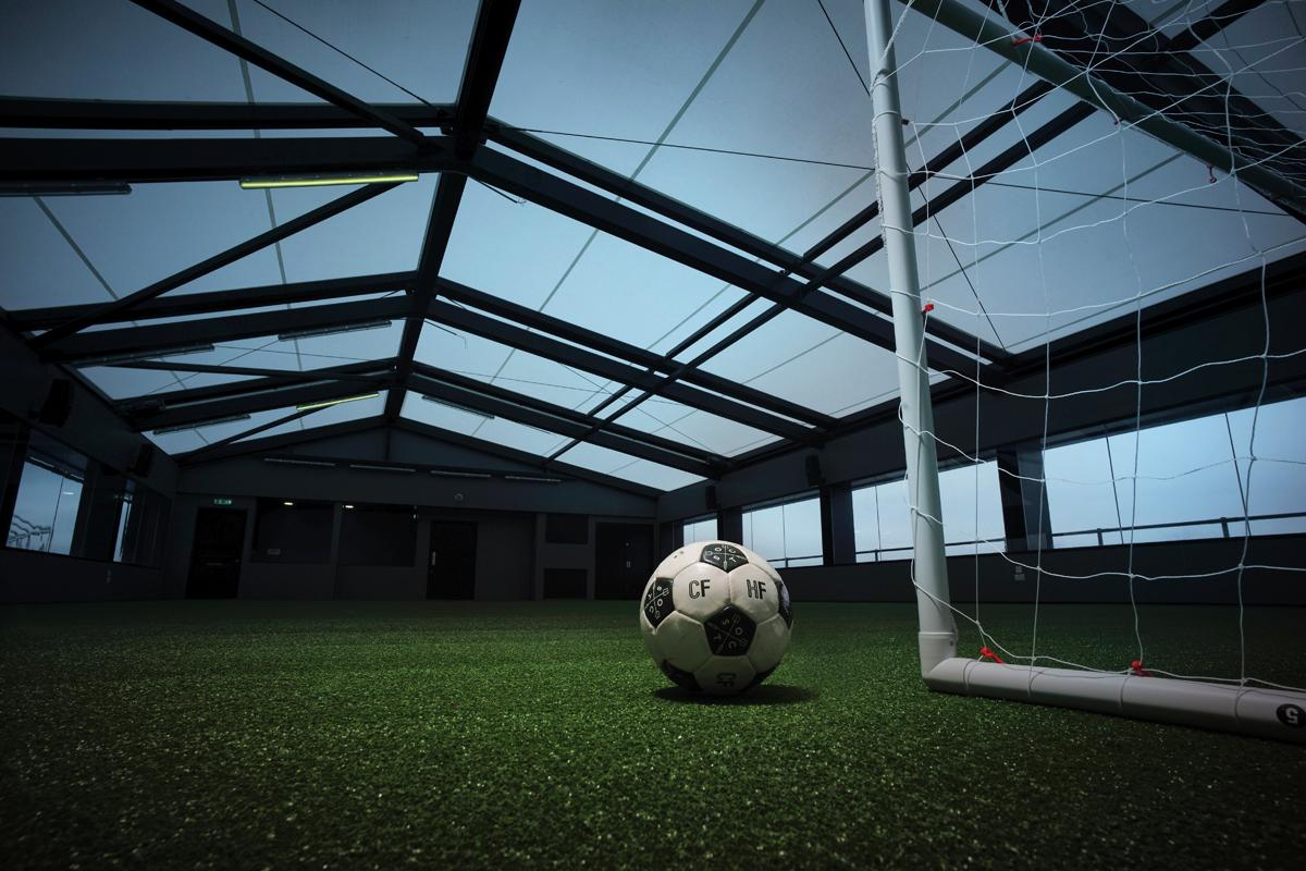 The rooftop football pitch