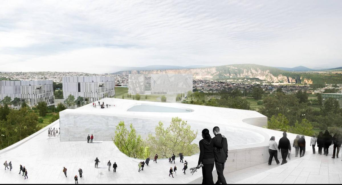 The roof of the museum will also be accessible, with a restaurant and aviary drawing visitors upwards