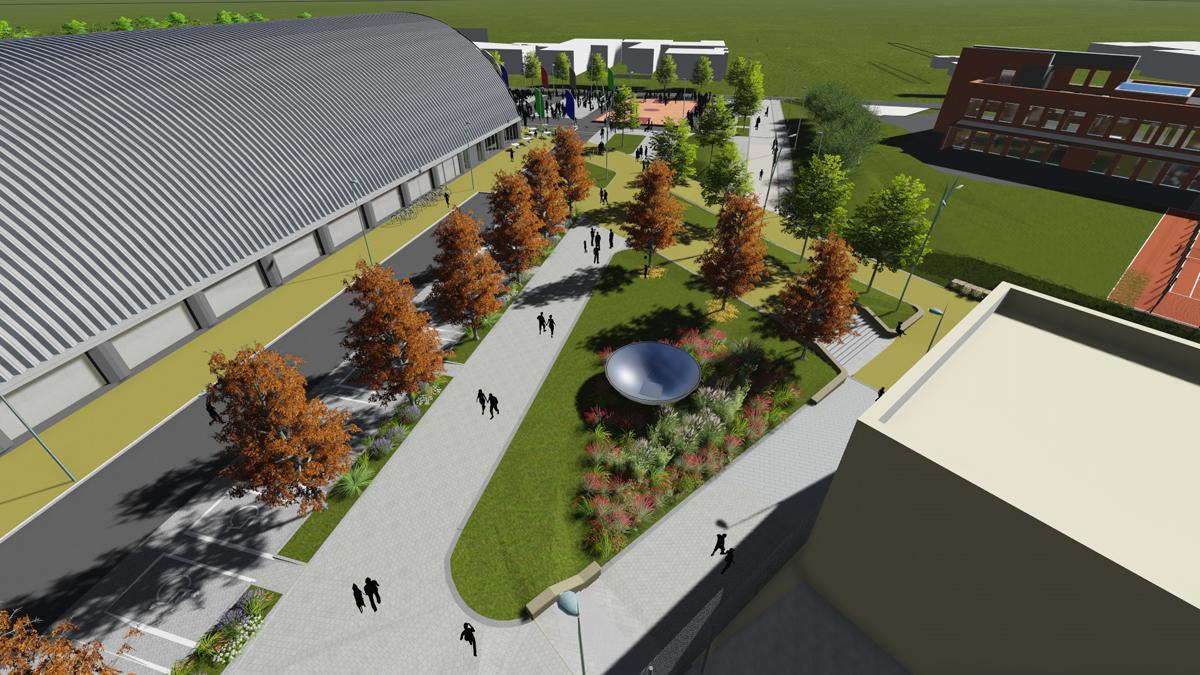 An artists impression of the arena and surrounding area