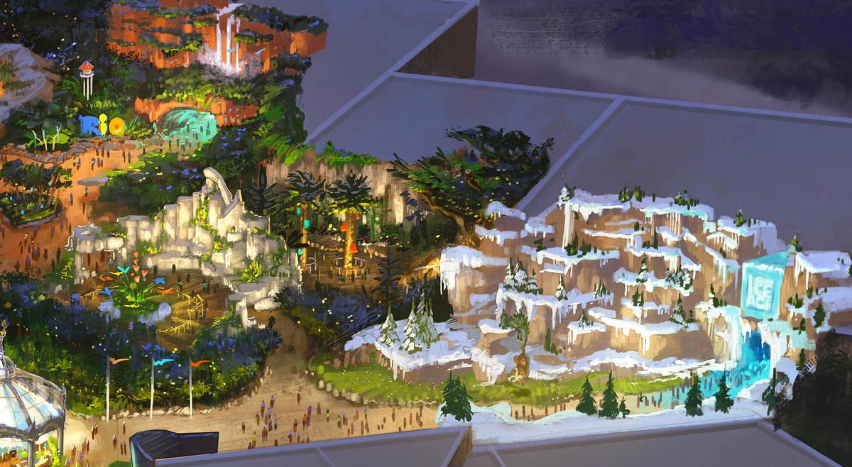 Plans also show dedicated areas for <i>Rio</i> and <i>Ice Age</i> / Twentieth Century Fox