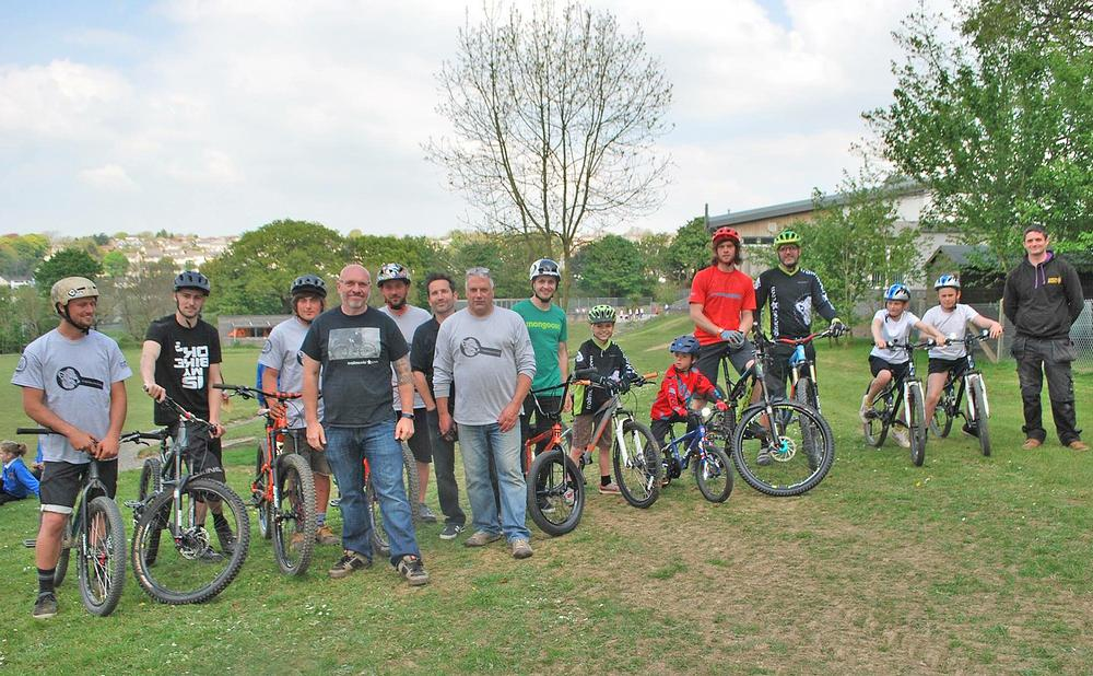 The Angel Trails team with staff and students at the launch of St Petrocs School pump track