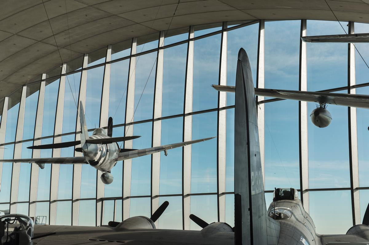 18 aircraft occupy the building / Imperial War Museum Duxford
