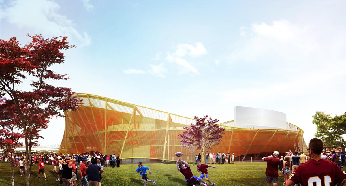 The stadium is a semi-transparent wave-like structure wrapped in a golden metal mesh / BIG