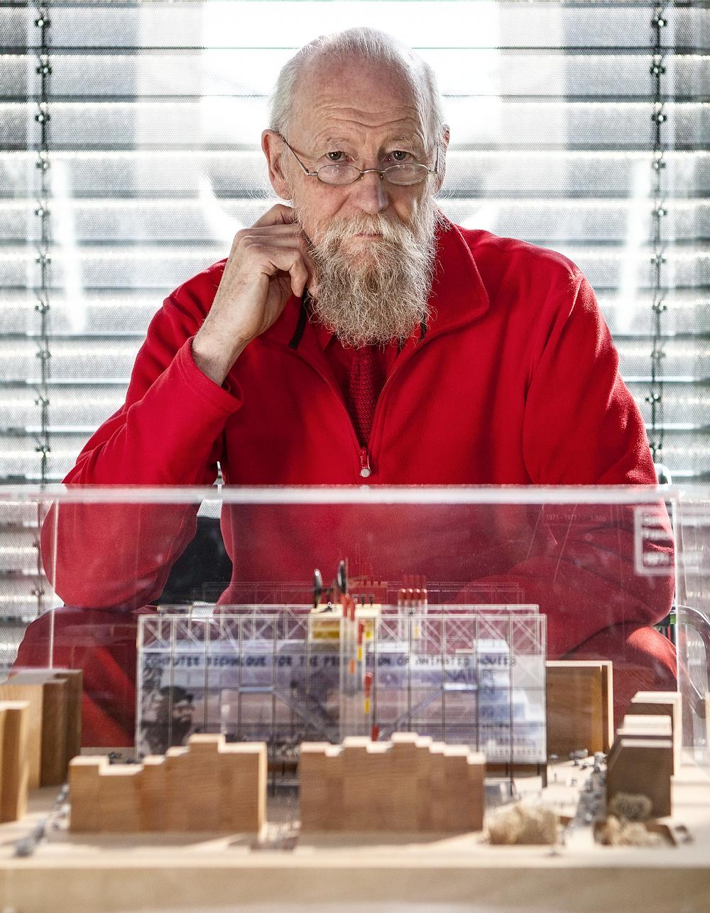Mike Davies with the original competition model of the Pompidou Centre from the 1970s / Photo: Paul McLaughlin