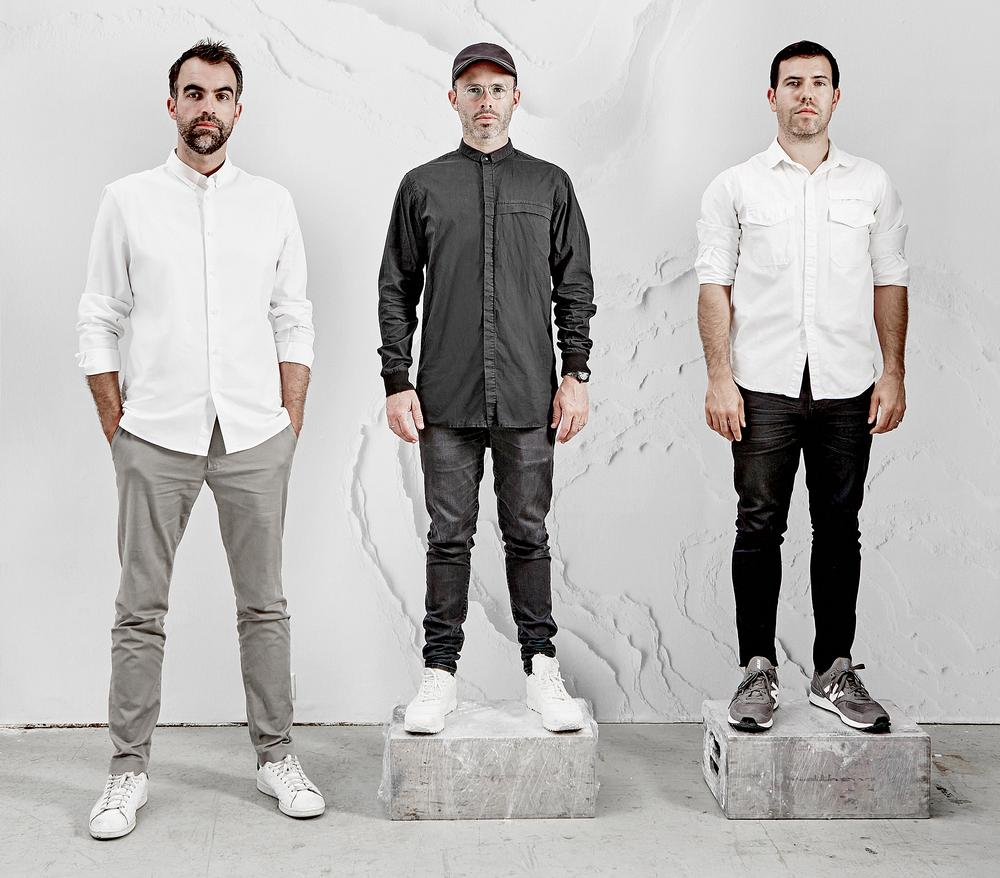 (From left to right) Alex Mustonen, Daniel Arsham and Ben Porto make up the New York design studio Snarkitecture / IMAGE: NOAH KALINA