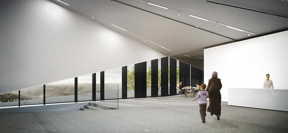 The museum's interior is modern and uncluttered, allowing the exhibits to take centre stage. The building is aiming for LEED Silver rating, and incorporates a range of green features
