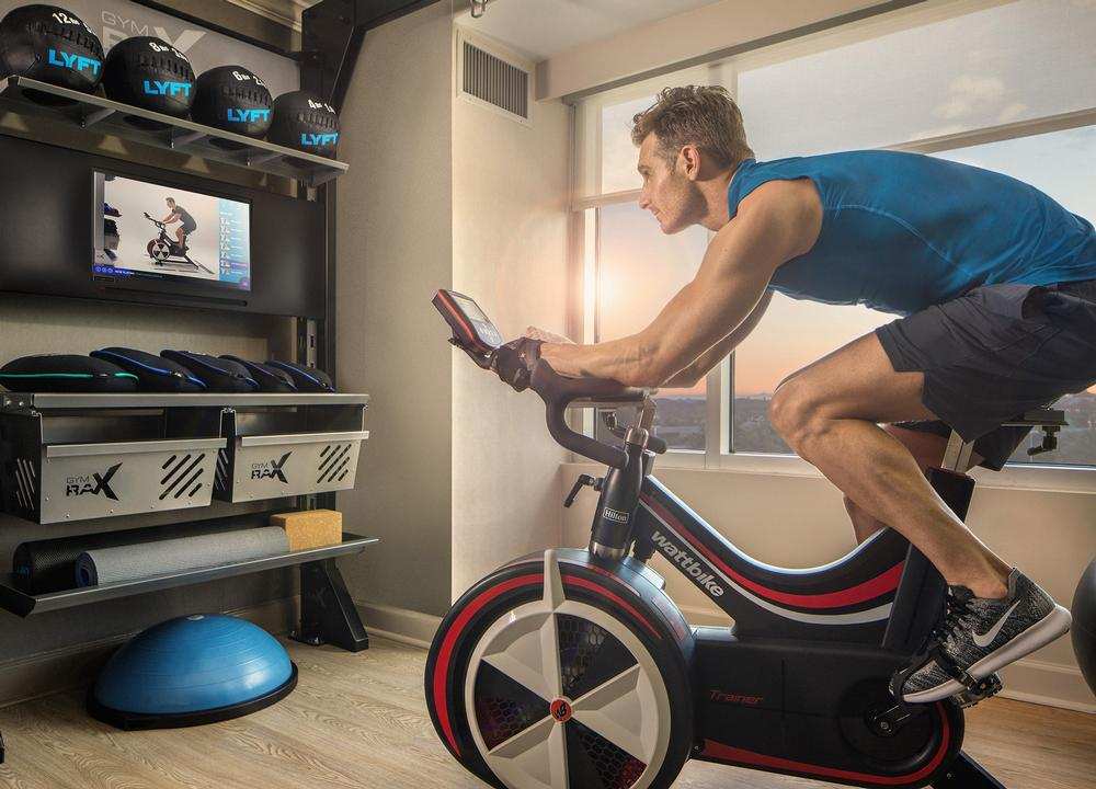 Hilton's Five Feet to Fitness rooms feature indoor bikes and weights