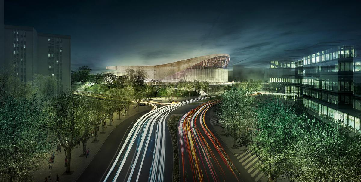The New Palau Blaugrana will host FC Barcelona's handball and basketball offshoots and includes a campus for the club's football academy, FCB Escola / HOK