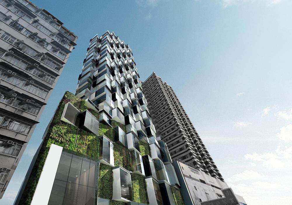 Inspired by lichen, Aedas designed the Mongkok Residence with green walls to improve air quality / IMAGE: Aedas