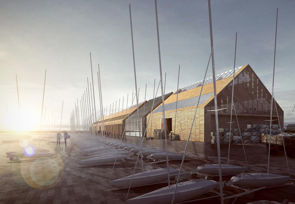 Plans for the lagoon include an oyster hatchery, restaurant and international watersport centre, designed by FaulknerBrowns / FaulknerBrowns