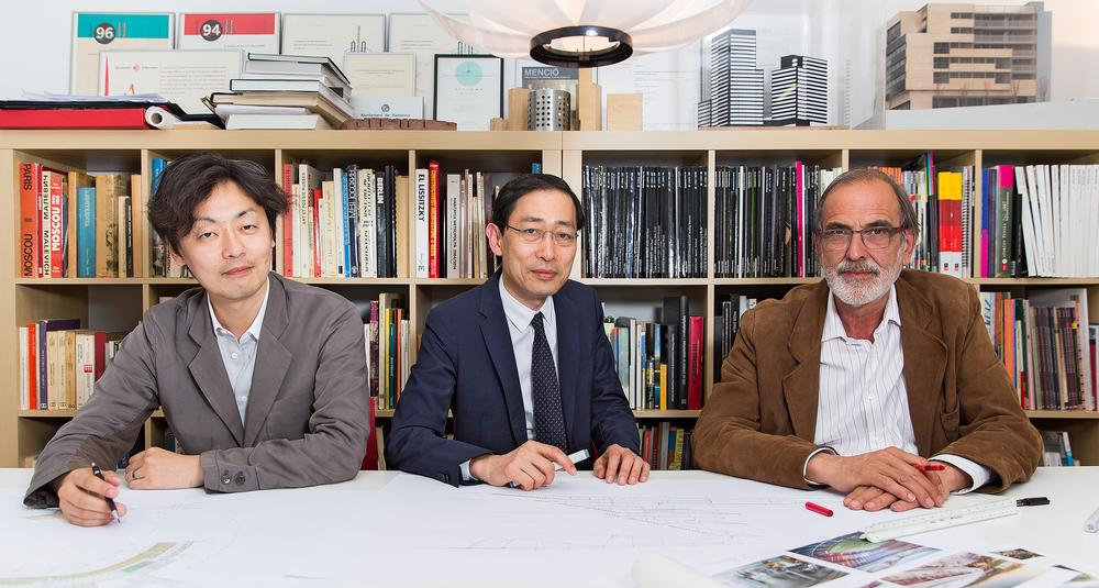 Key members of the New Camp Nou team, left to right: Takeyuki Katsuya, Tadao Kamei and Joan Pascual / Photos and images provided by FC Barcelona