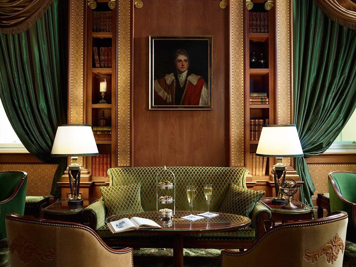 Cocktails or champagne are on offer at the artfully refurbished library bar the lanesborough hotel