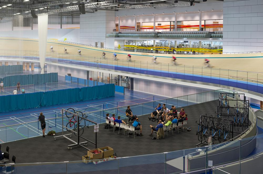 The infield can be used for court-based sports and educational sessions even when the Velodrome is being used by cyclists