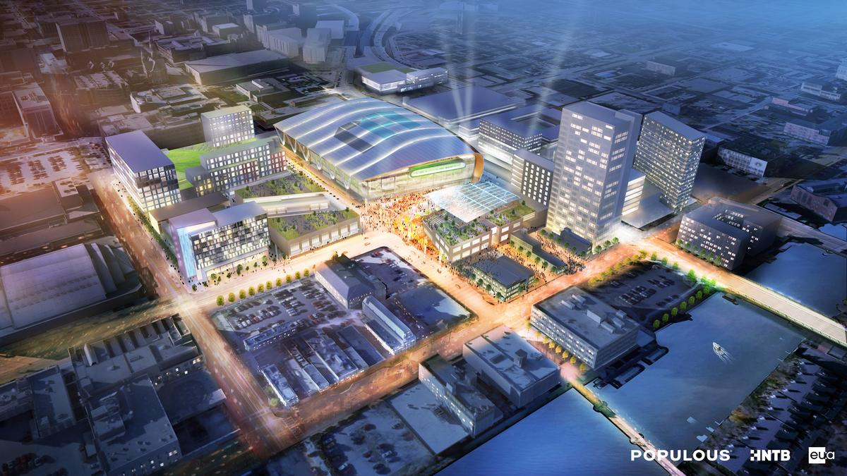 The proposed 60,000sq ft (5,600sq m) entertainment district will revitalise the city / Milwaukee Bucks/Populous