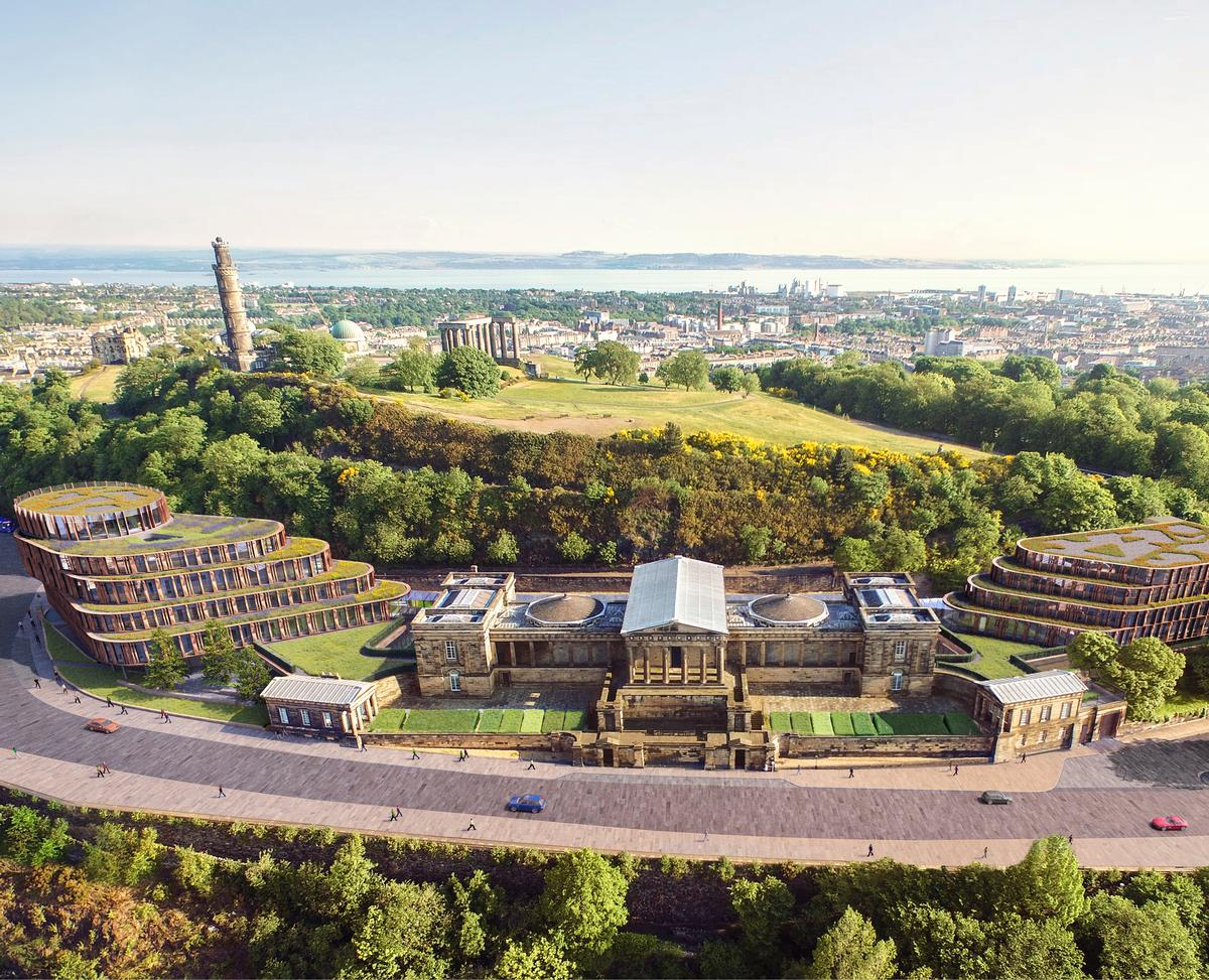 The hotel's bedrooms will be set away from the original building in two newly constructed wings whose shape is inspired by Calton Hill / Rosewood Hotels