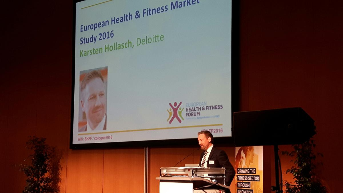 Karsten Hollasch of Deloitte at the European Health & Fitness Forum (EHFF) in Cologne, Germany, this morning (6 April)