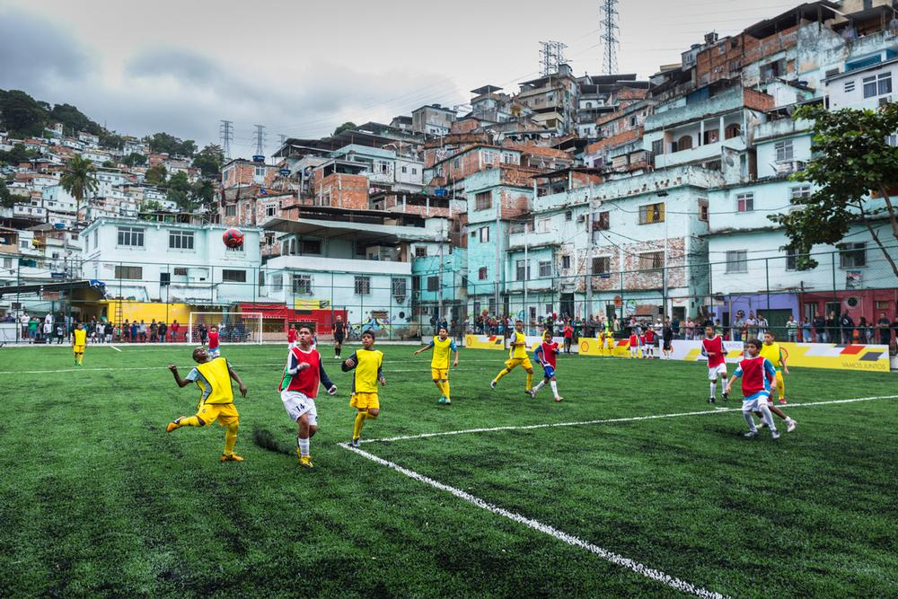 Shell renovated a run-down community football pitch in a favela in Brazil