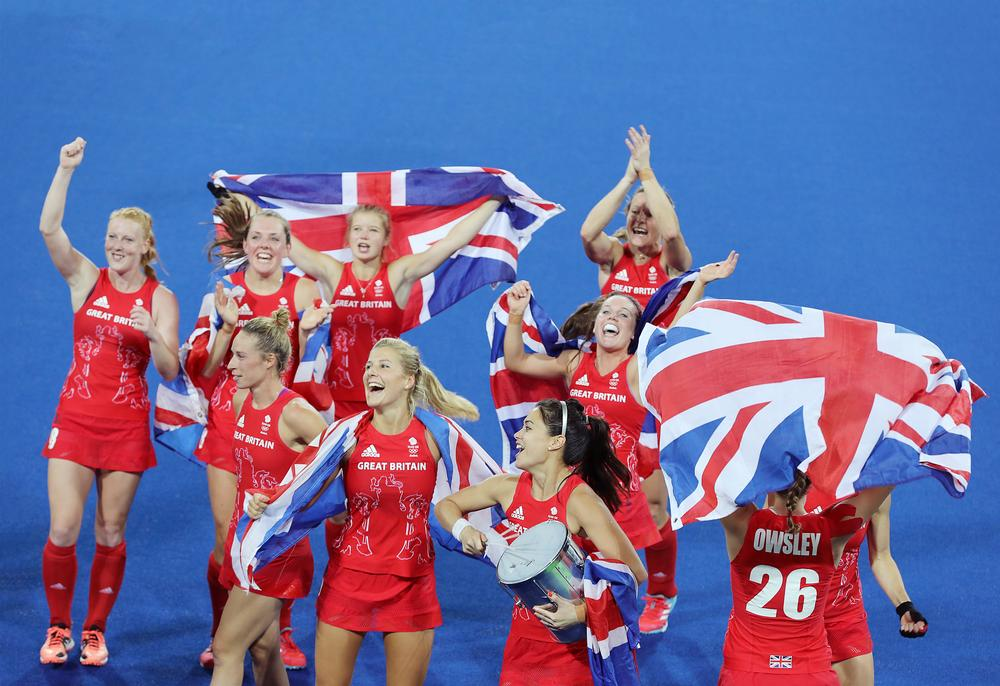 GB's women's hockey team celebrating their Gold at Rio 2016 / Owen humphreys / press association