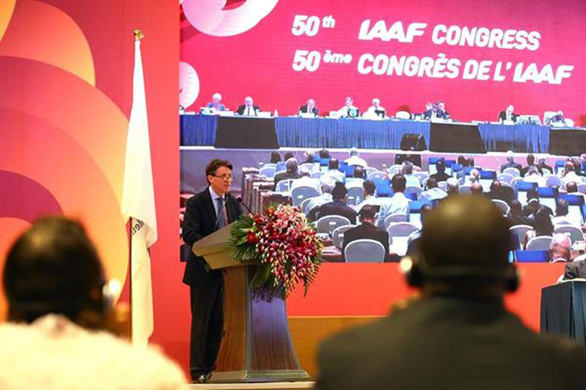 Sebastian Coe was voted in as IAAF president during the last Congress in Beijing in 2015 / Getty Images via IAAF
