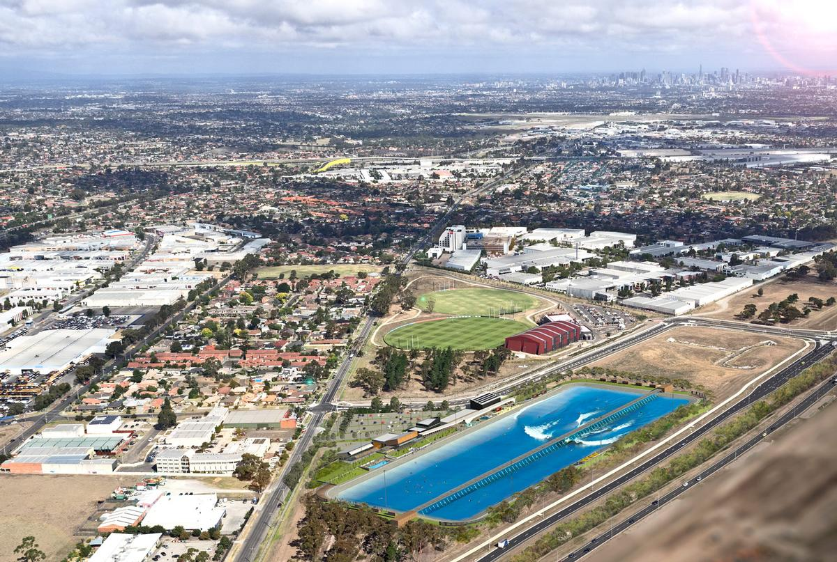 According to local reports, the facility near Melbourne Airport will feature a 3.9 hectare LED-lit body of water / MJA Studios/Urbnsurf