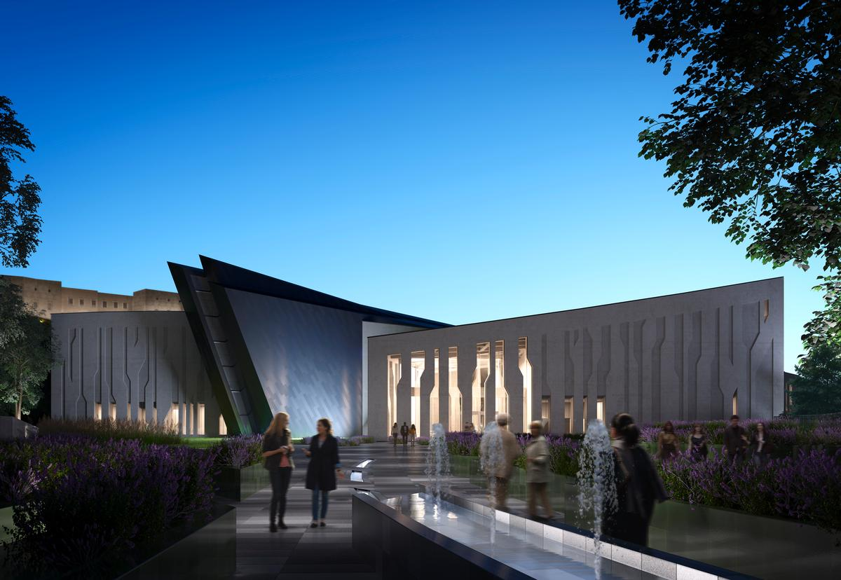 A water feature will extend from the landscape through the museum, bringing to mind the rivers and fertile valleys of Kurdistan / Hayes Davidson