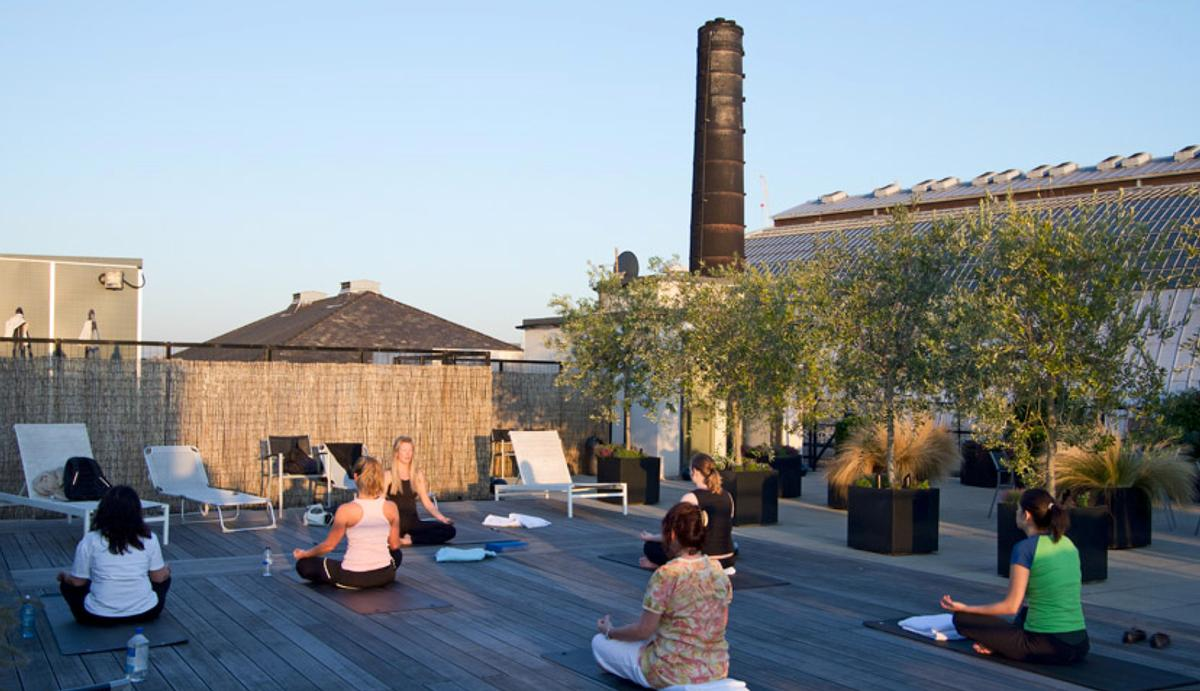 The site, once a graphics workshop, includes a rooftop yoga space / The Printworks