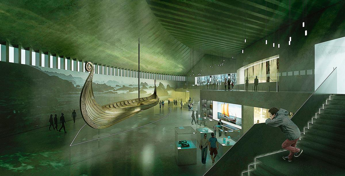 Viking boats and artefacts are among the fragile cultural exhibits on display / AART Architects