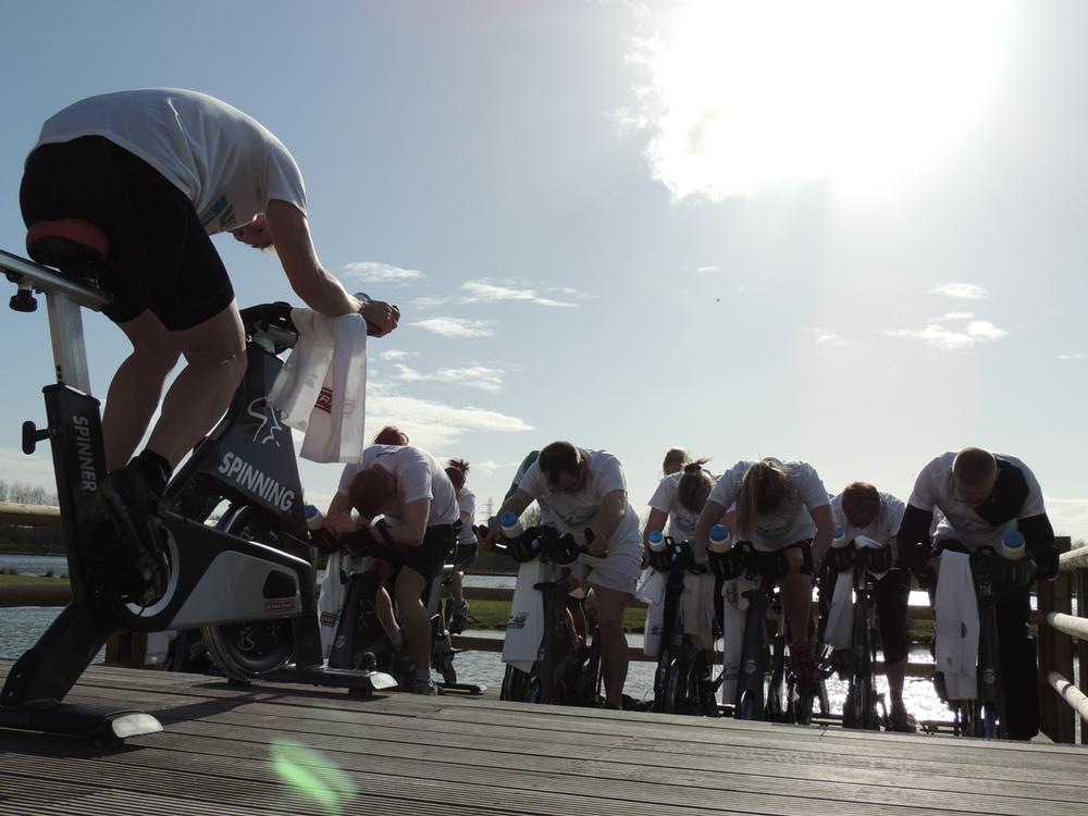 The pre-opening tour included outdoor Spin sessions