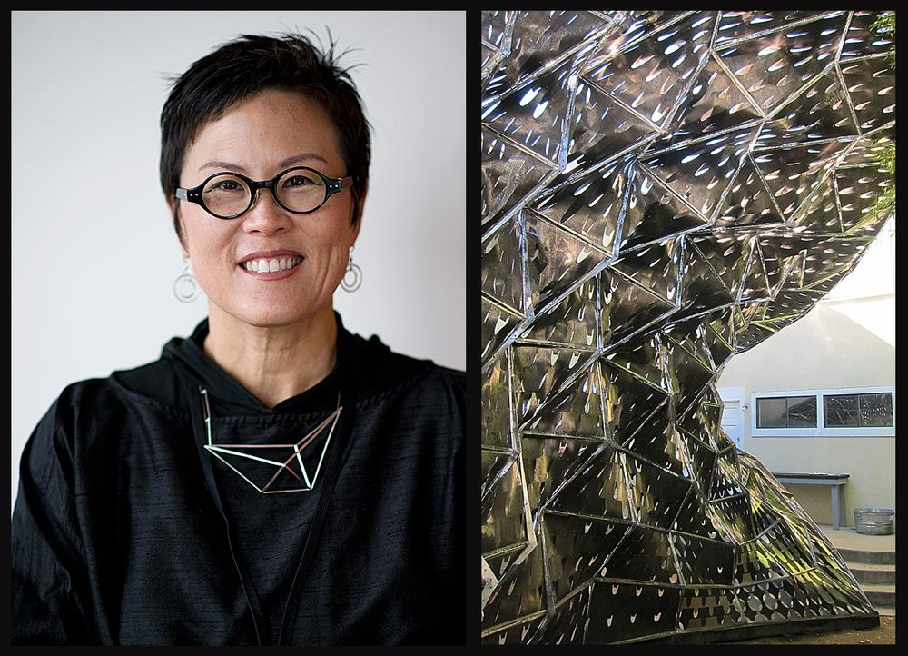 Architect Doris Sung has developed a building skin made of thermo-metals that breathes like human skin. Sung's Bloom installation uses the new 'skin'