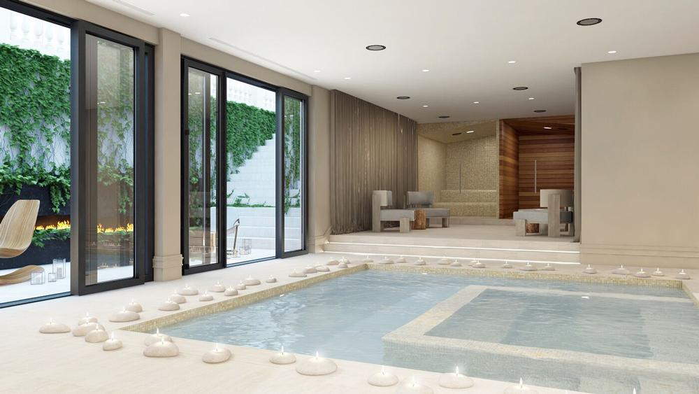 The entire lower level of the house is dedicated to health and wellbeing. The gym and indoor pool overlook a sunken wellness garden