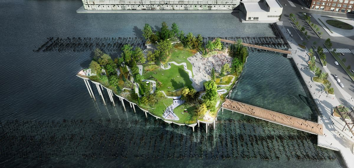 The 'floating' pier will be formed like an island situated 186ft (57m) away from the bank / Image by Luxigon