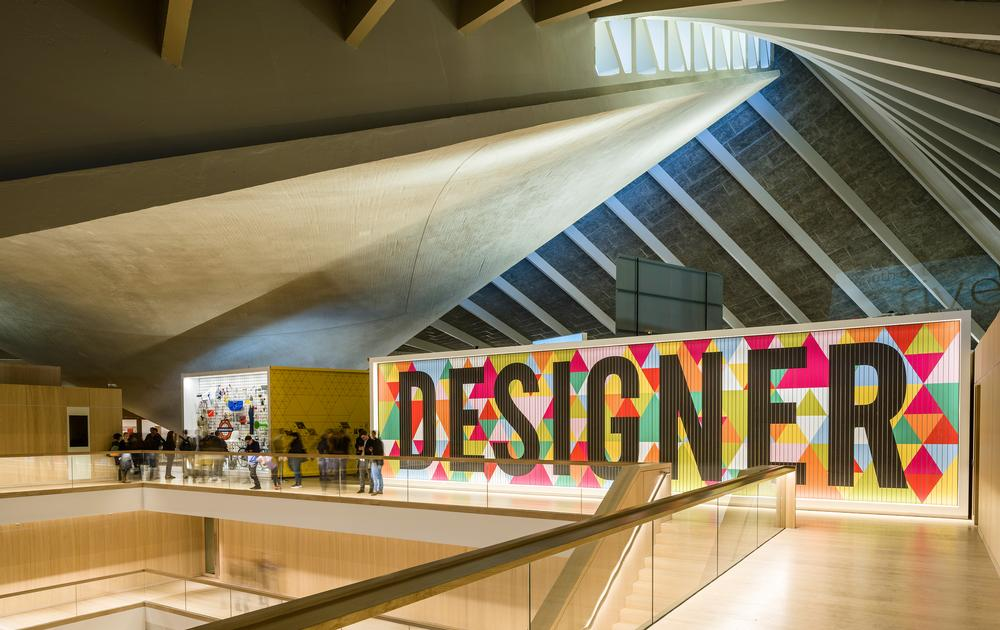The Design Museum's galleries, café and event and learning spaces are arranged around the large oak-lined atrium