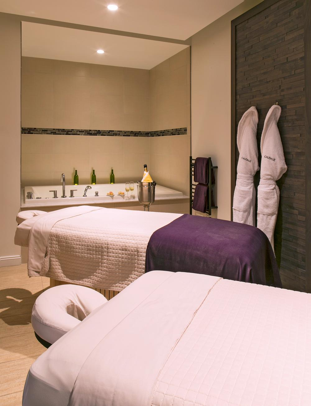 Guests can enjoy a glass of wine or chocolate desserts while they relax at Evangeline Spa